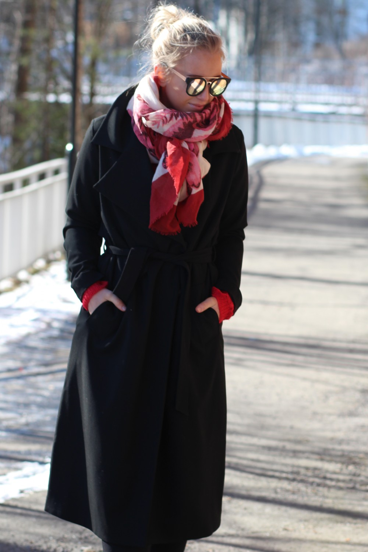 Just Female Settle Long Coat Black