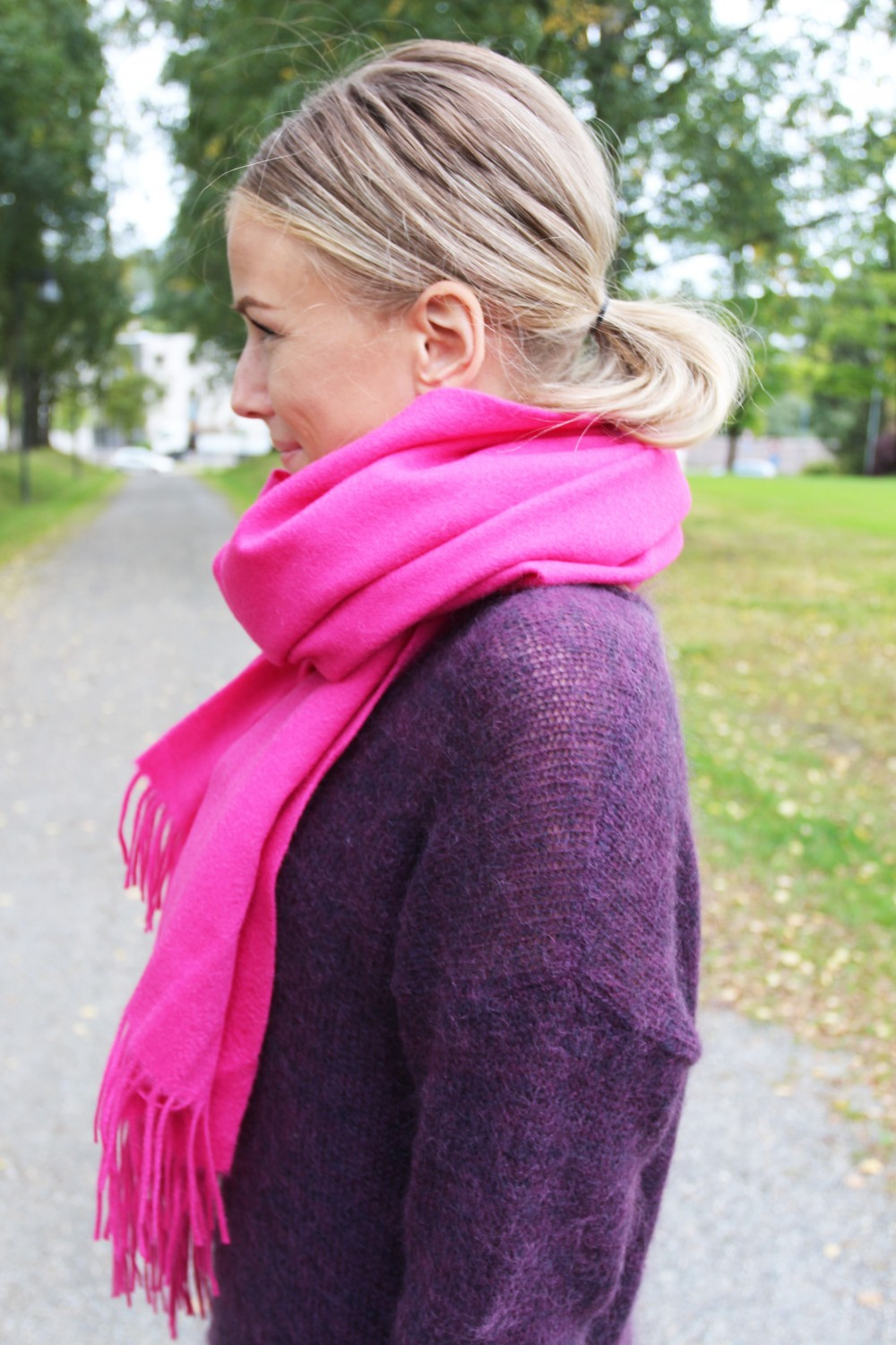 Just Female Clive Scarf Pink Flambe